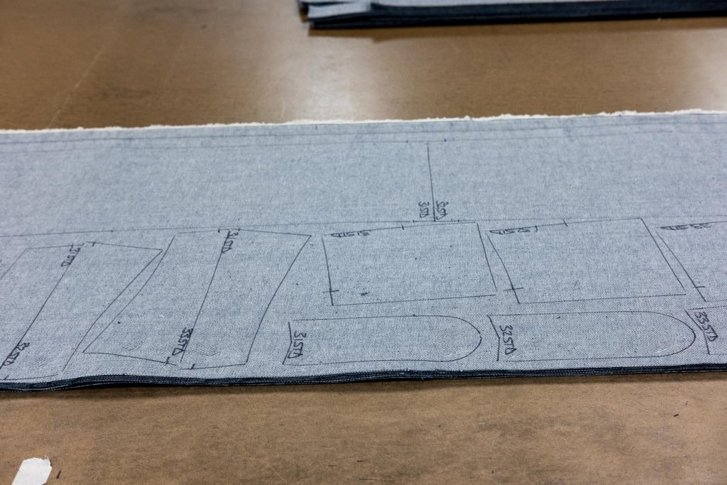 Shockoe Atelier cutting room floor with denim outlines.