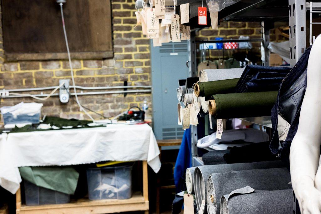 Shockoe Atelier denim fabric rolls.