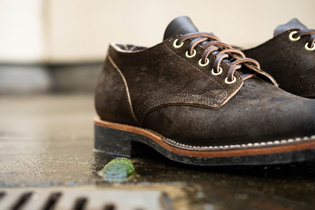 Viberg for Withered Fig 145 Oxford Mushroom Chamois Roughout with Dr Sole Raw Cord