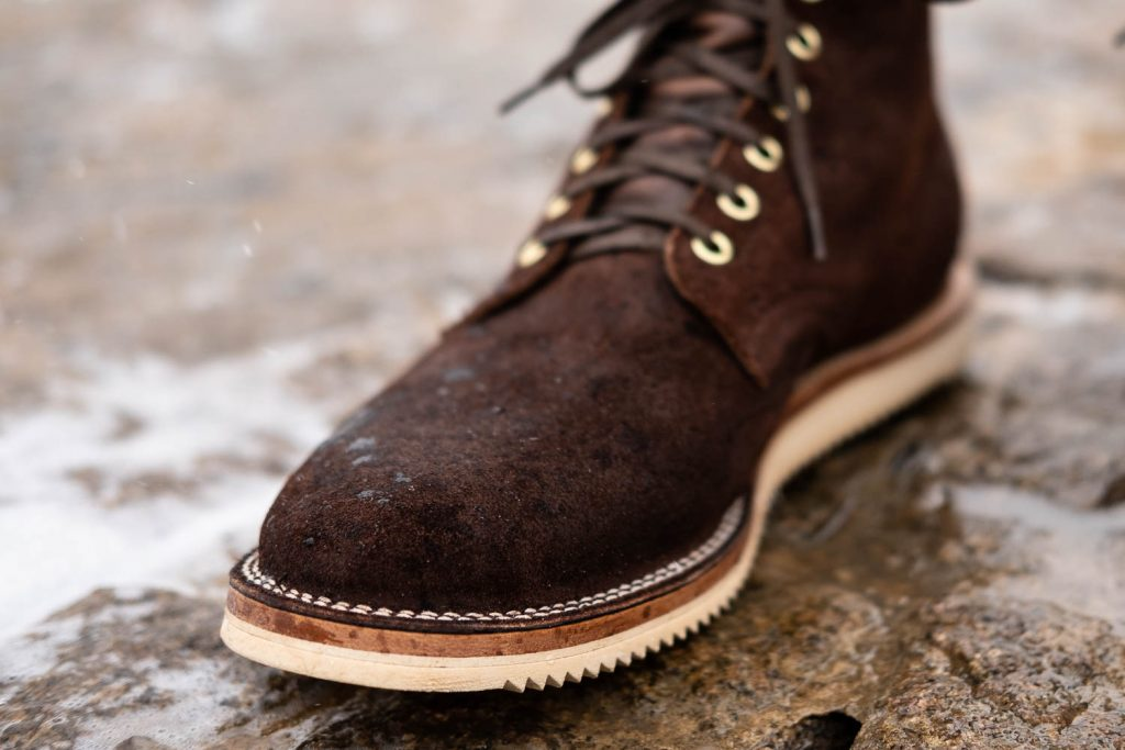 Close up of Viberg for Withered Fig Tobacco Chamois Roughout Service Boot