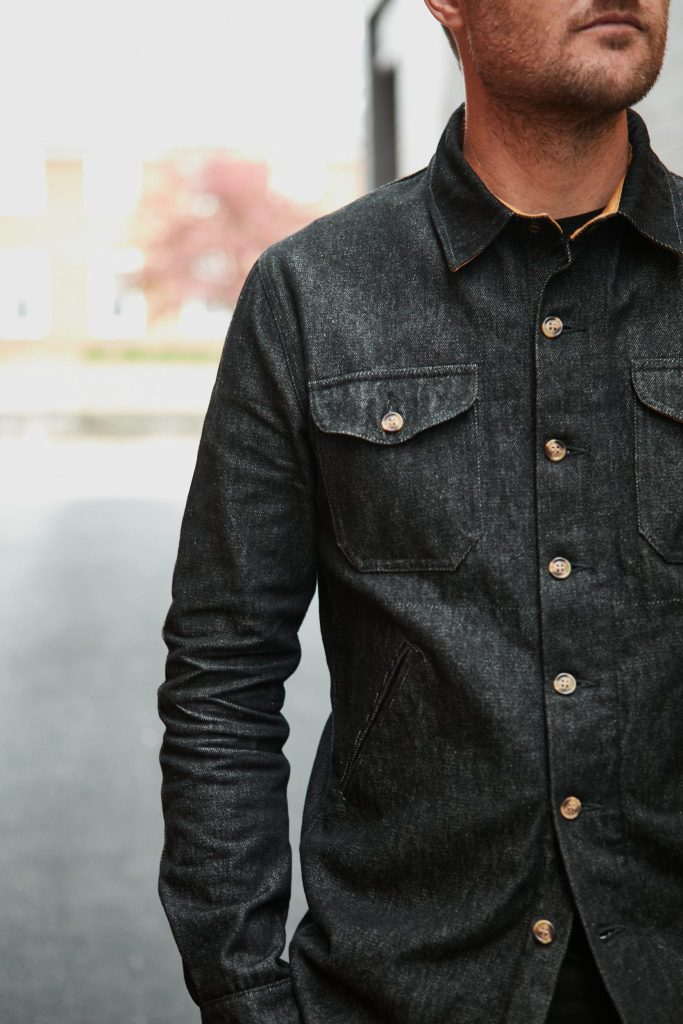 dehen for withered fig black denim crissman overshirt