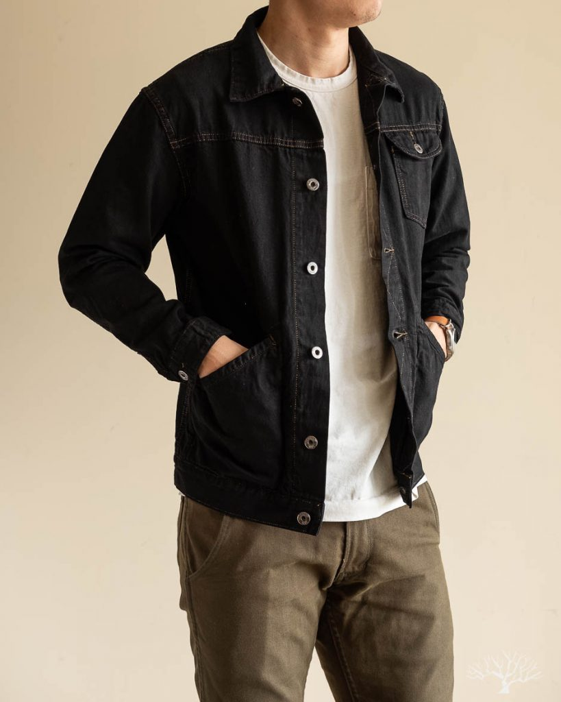 3sixteen for withered fig overdyed black indigo nep ranch jacket