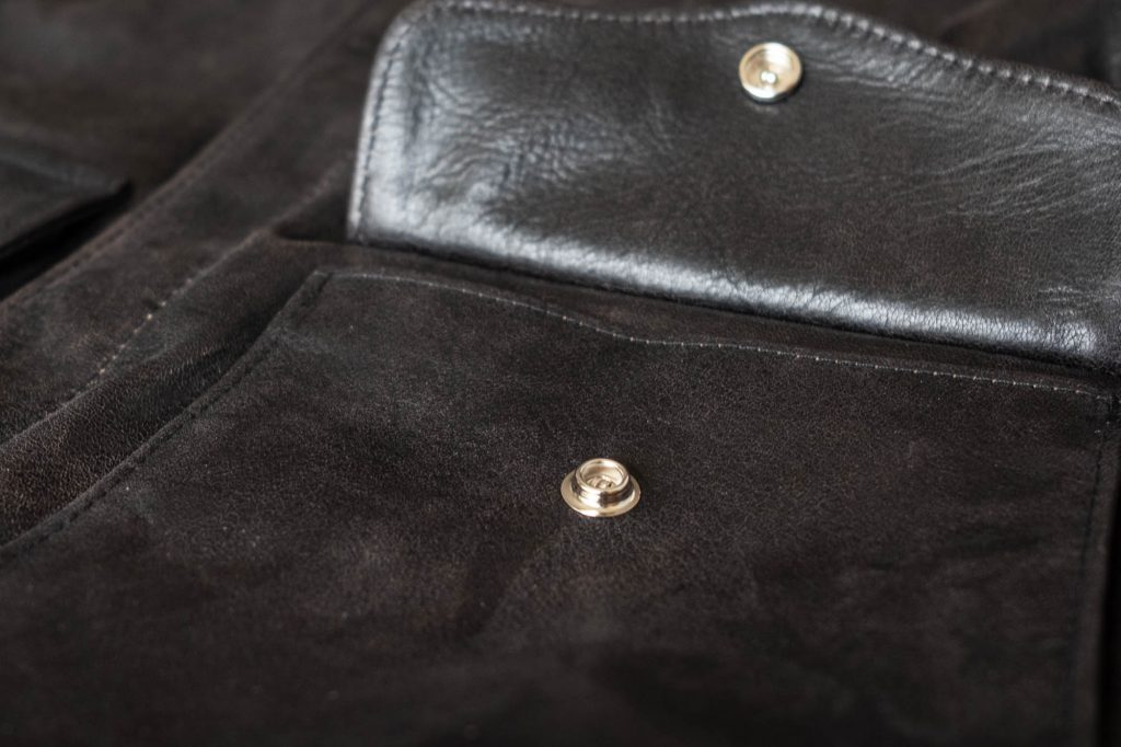 schott for 3sixteen a2 flight jacket details hidden snap front pocket