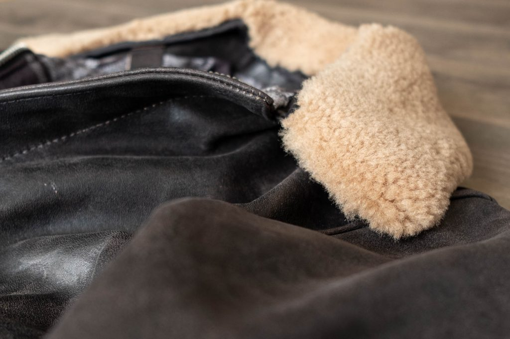 schott for 3sixteen a2 flight jacket sheepskin collar
