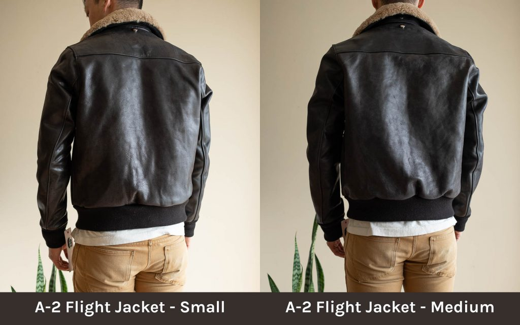 schott for 3sixteen a-2 flight jacket sizings