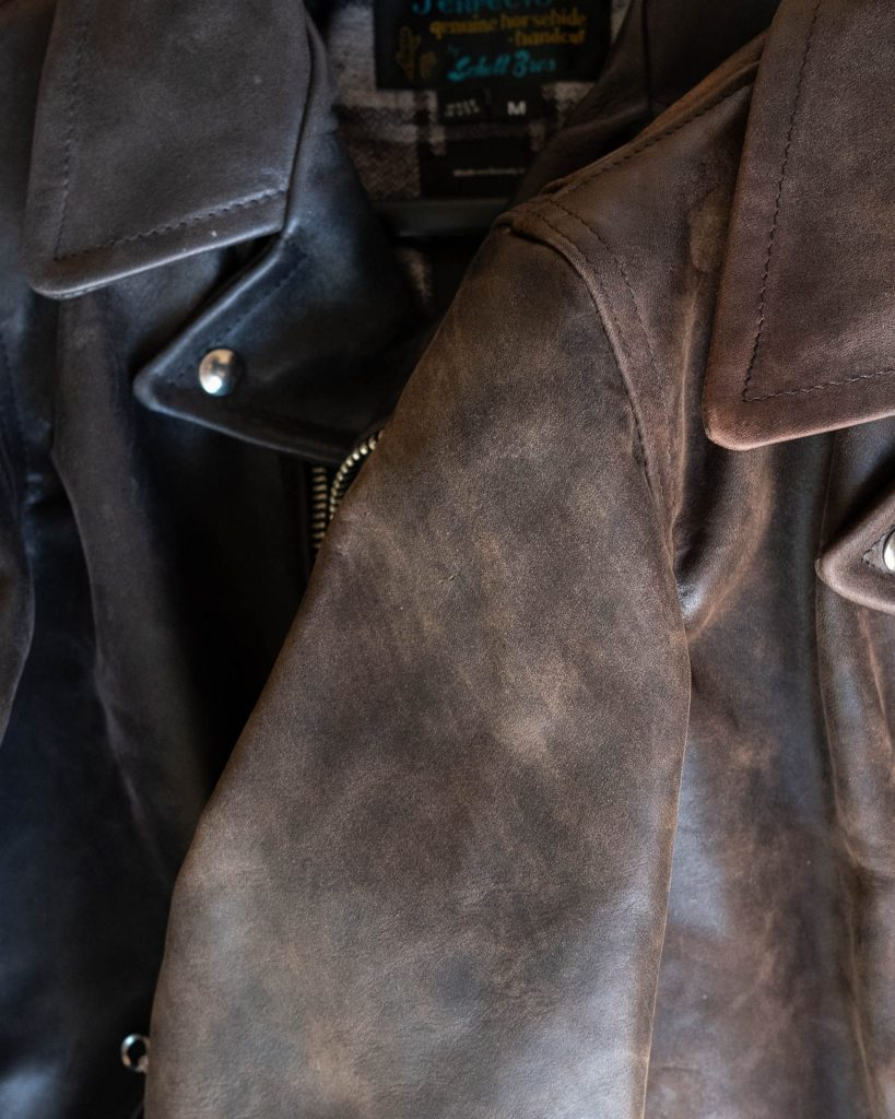 comparing horween teacore chromexcel horsehide leather with two different shades