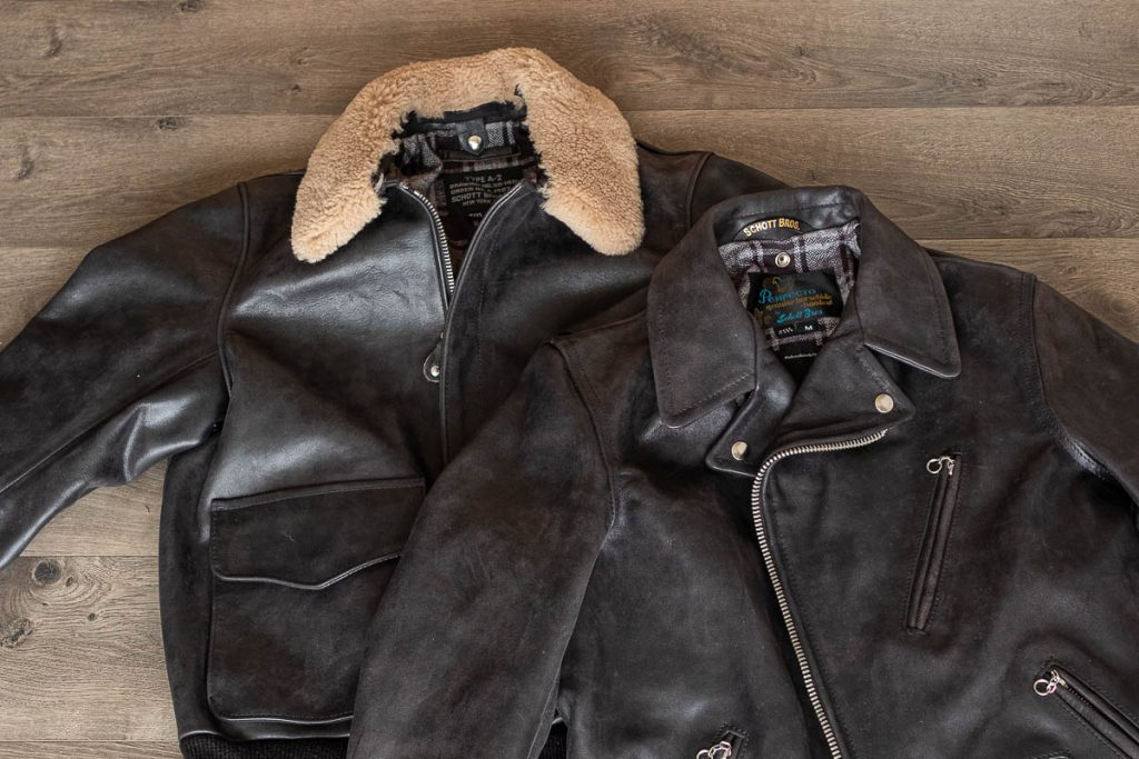 photo of schott for 3sixteen a-2 flight jacket and perfecto jacket