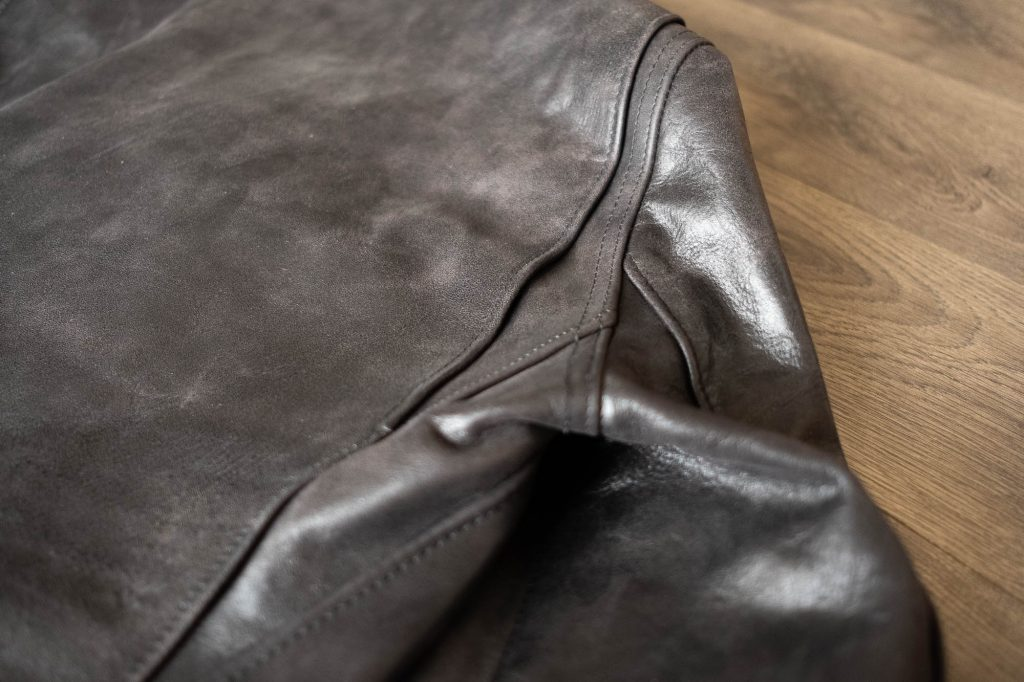 schott for 3sixteen perfecto jacket details bi-swing shoulders