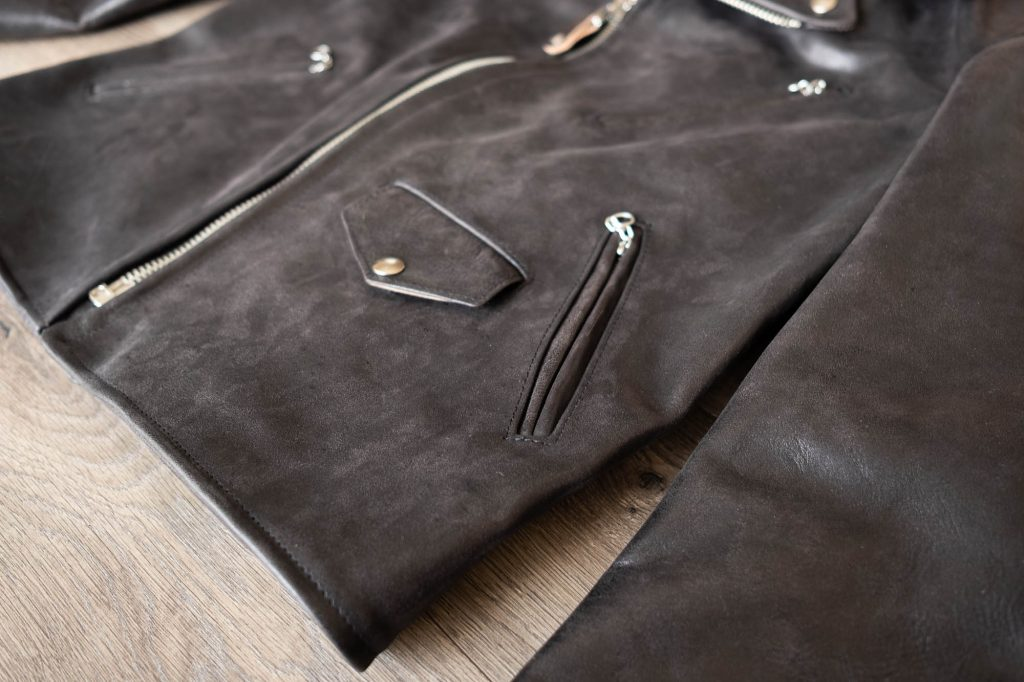 schott for 3sixteen perfecto jacket details snap pockets and slanted zip pockets