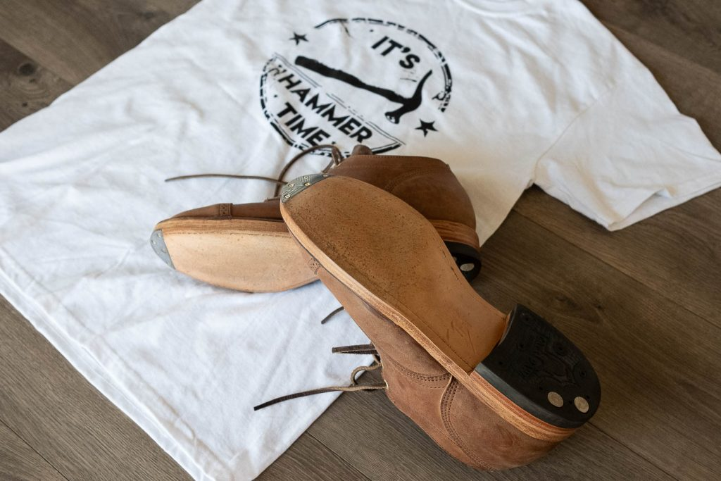 "bedo's leatherworks ""hammer time"" t-shirt and viberg for withered fig crust horsebutt 145 oxfords"