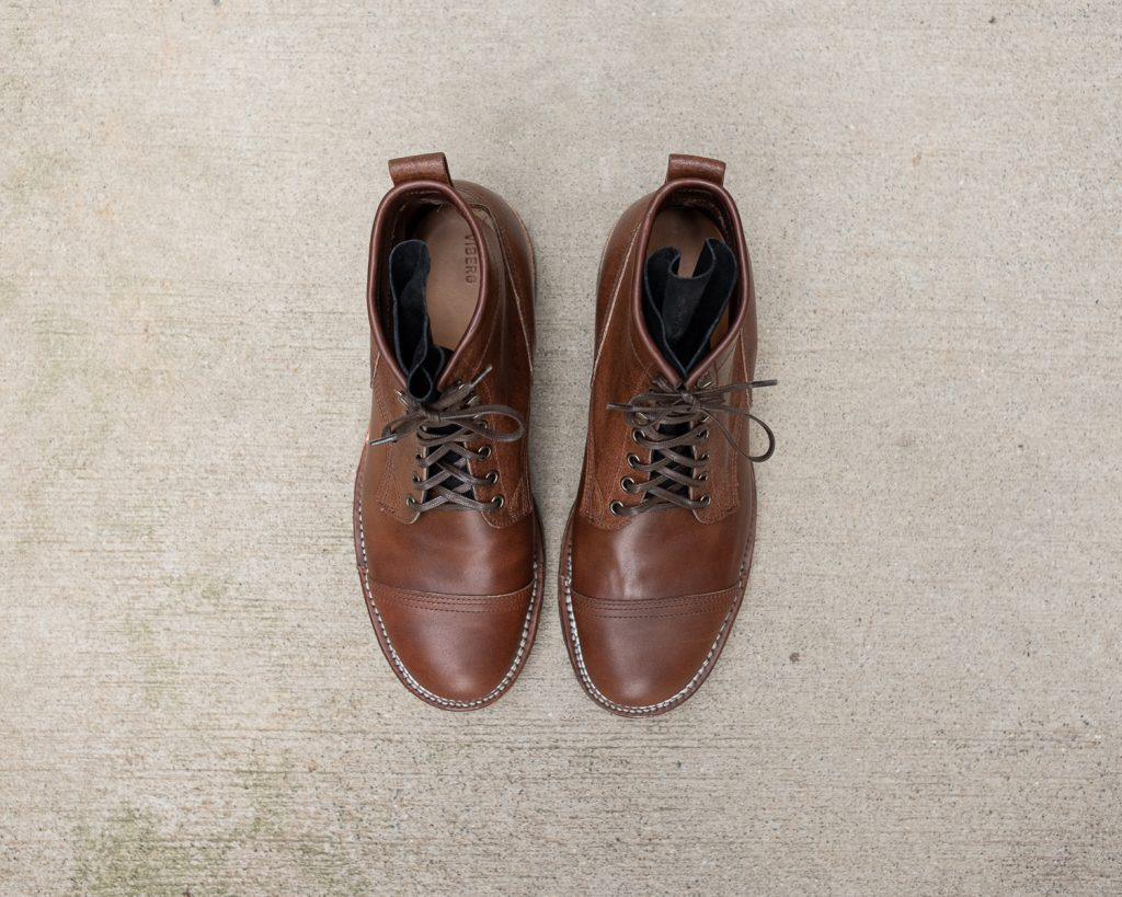 Viberg for Withered Fig Brown Waxed Flesh Horsebutt Bobcat Boot