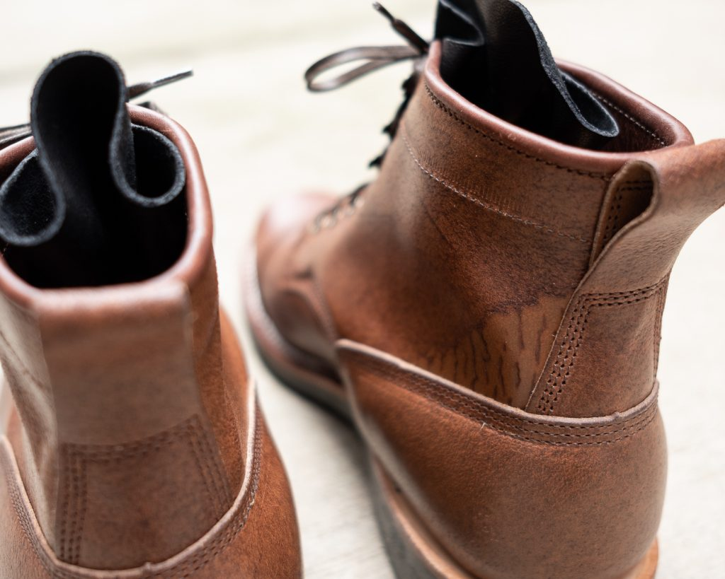 Viberg for Withered Fig Brown Waxed Flesh Horsebutt Bobcat Boot Scarring
