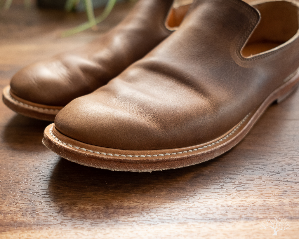 Viberg Camel Oiled Calf Slippers with Leather Sole