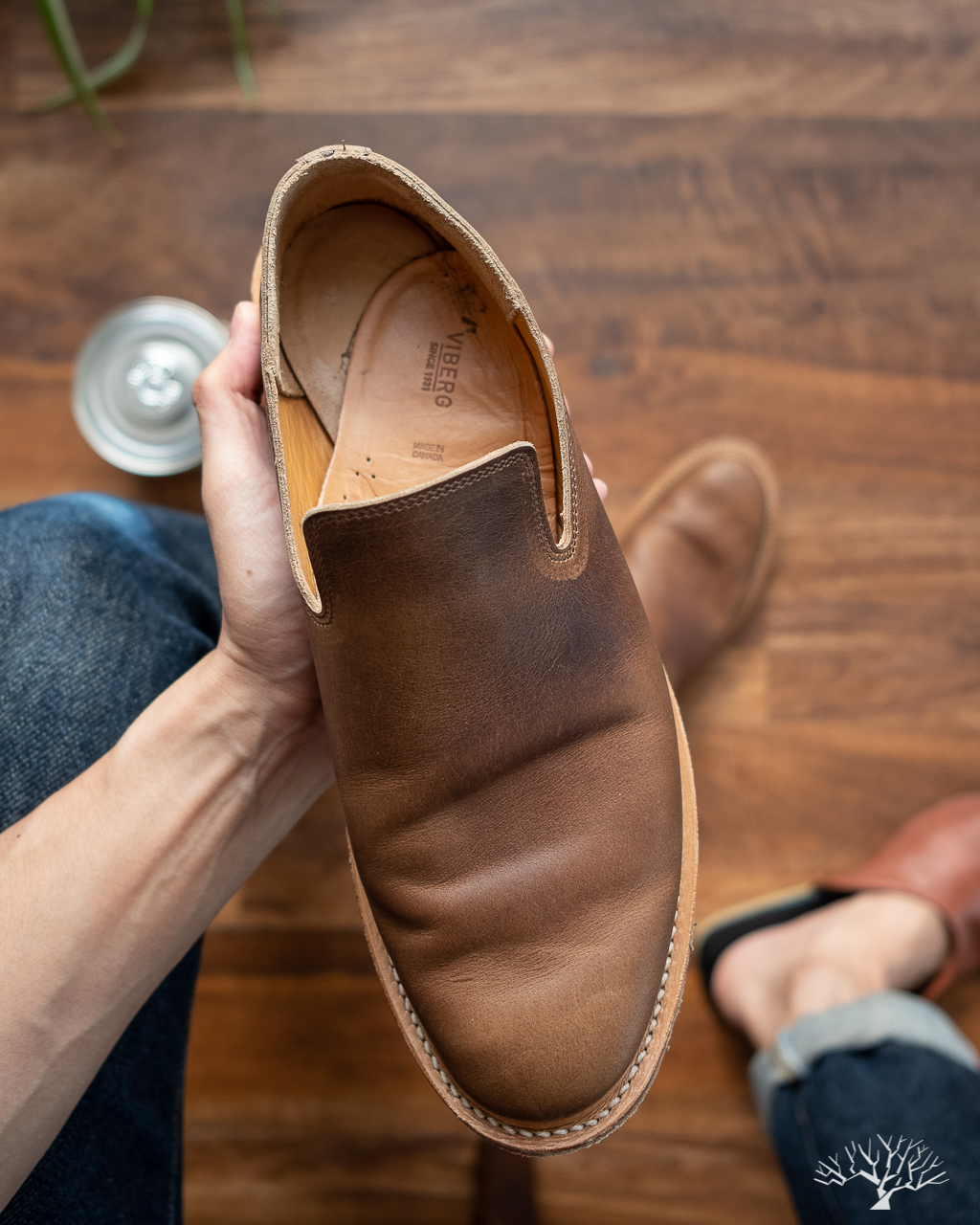 Viberg Camel Oiled Calf Slippers Insoles Slipping and Sliding