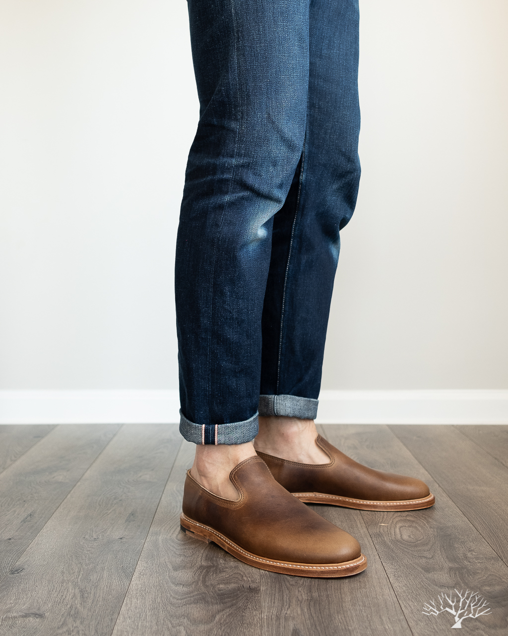 viberg camel oiled calf slippers styled with railcar denim