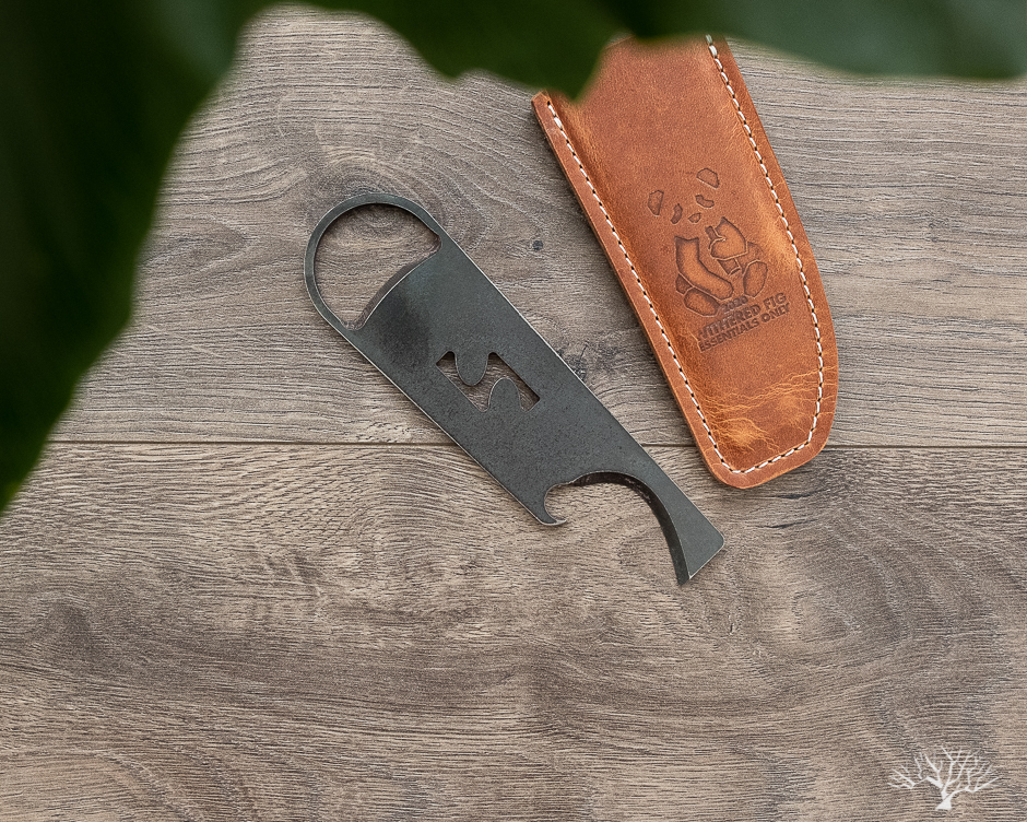 high side and withered fig collaboration wax cutter and bottle opener with leather sheath