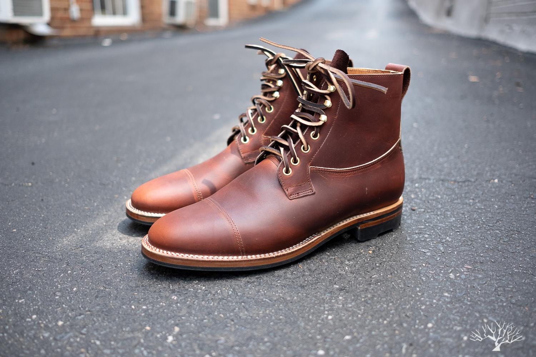 viberg saddletan chromepak country boot with rawhide laces and ridgeway sole