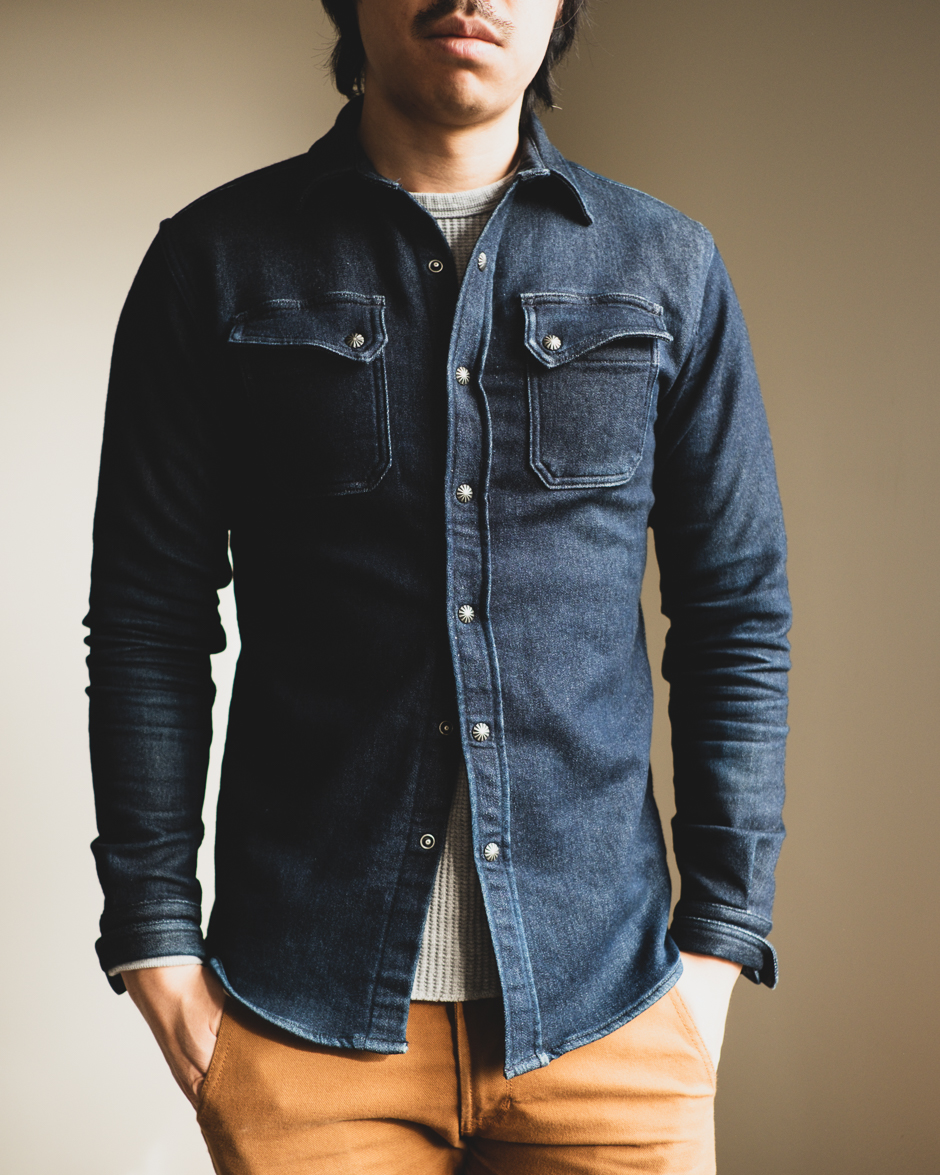 3sixteen Crosscut flannel Indigo Knit - Medium