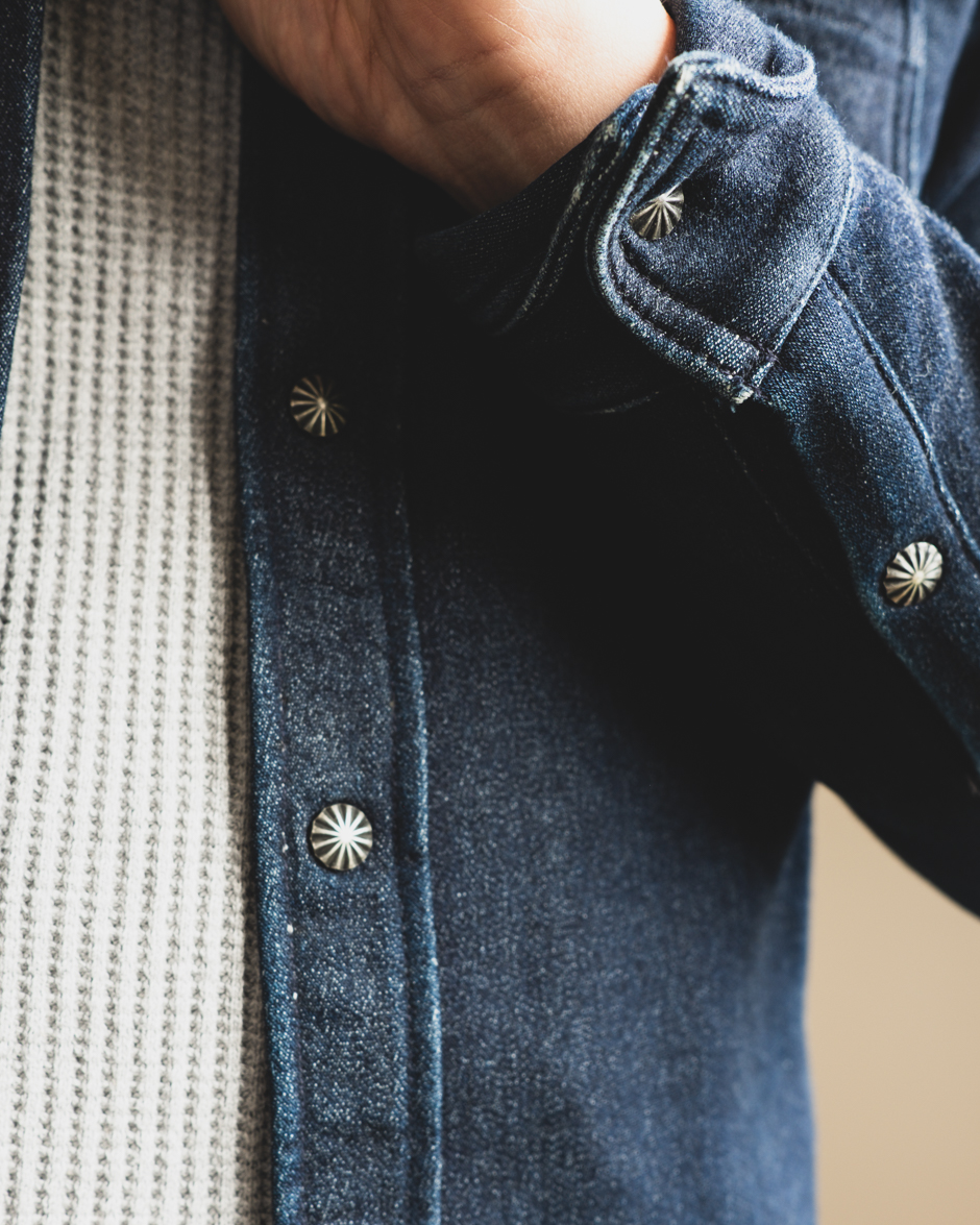 3sixteen crosscut flannel indigo knit
