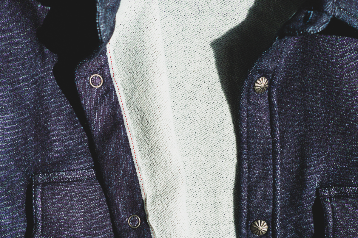 3sixteen Indigo Knit Crosscut Flannel Fleece