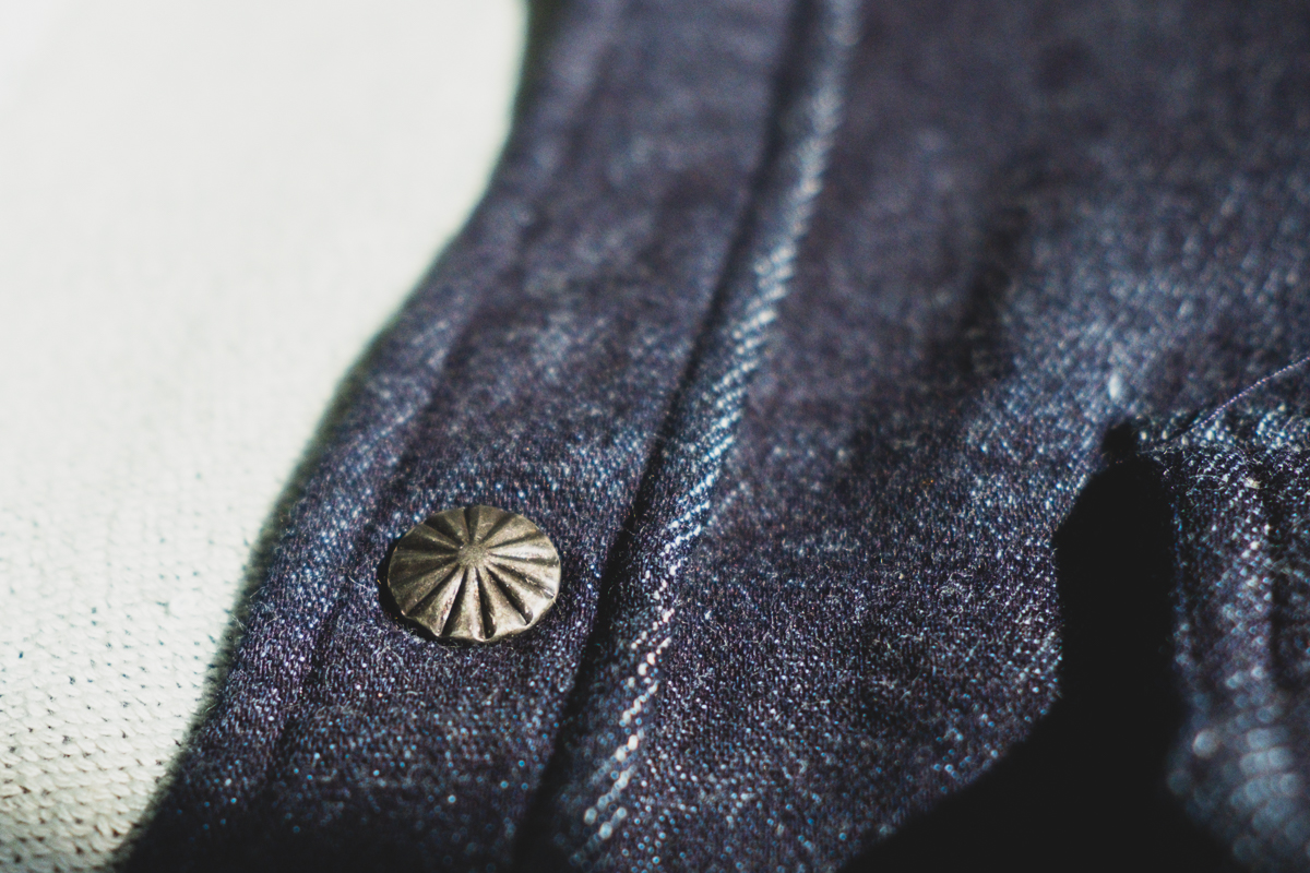 3sixteen Indigo Knit Crosscut Flannel aged pewter snaps