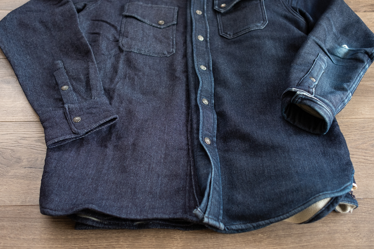 3sixteen Indigo Knit Crosscut Flannel Worn
