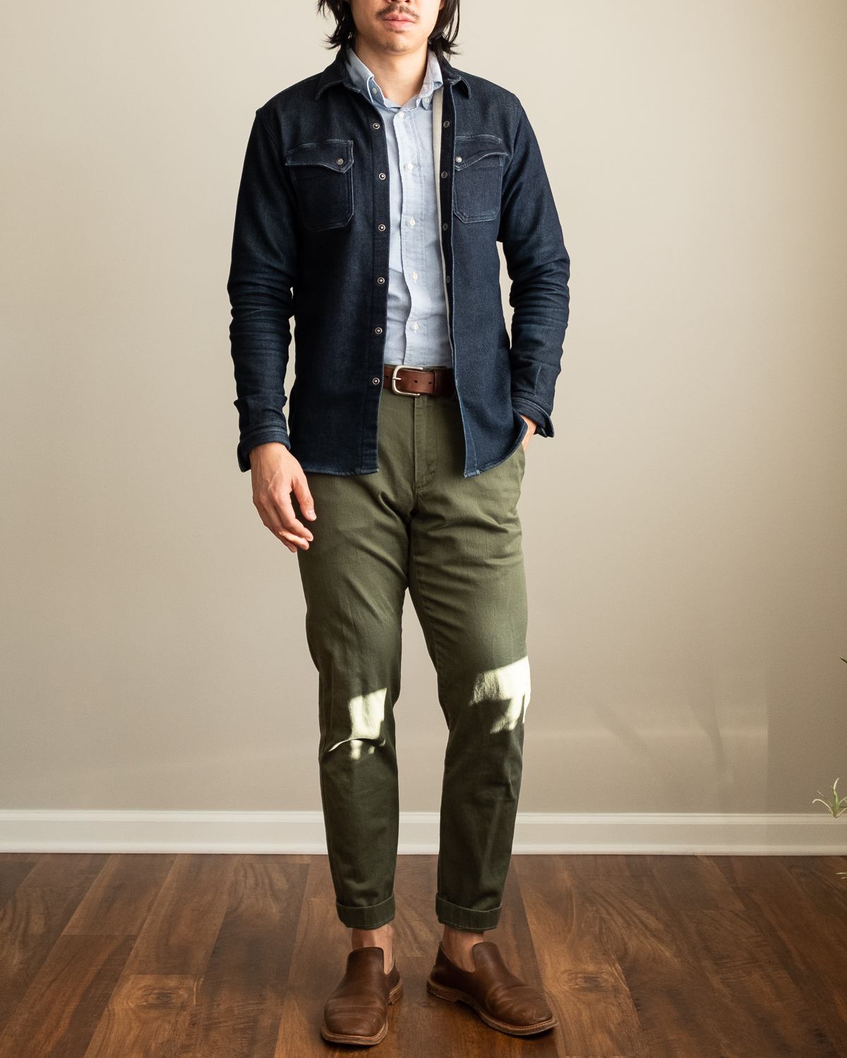 3sixteen Indigo Knit Crosscut Flannel Model Photo