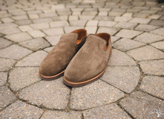 Viberg Antelope Calf Suede Slippers with Lactae Hevea Sole