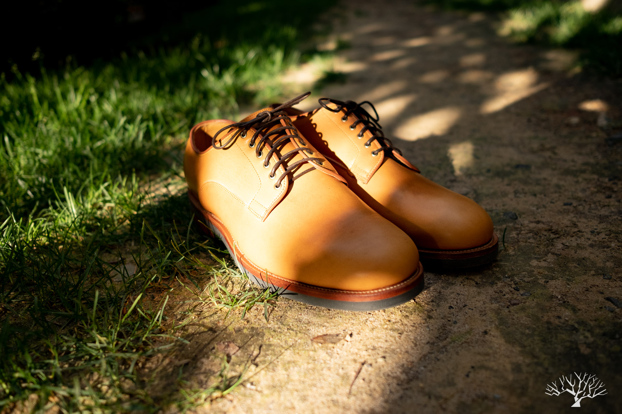 Viberg Shinki Camel Latigo Horsehide Derby Shoe