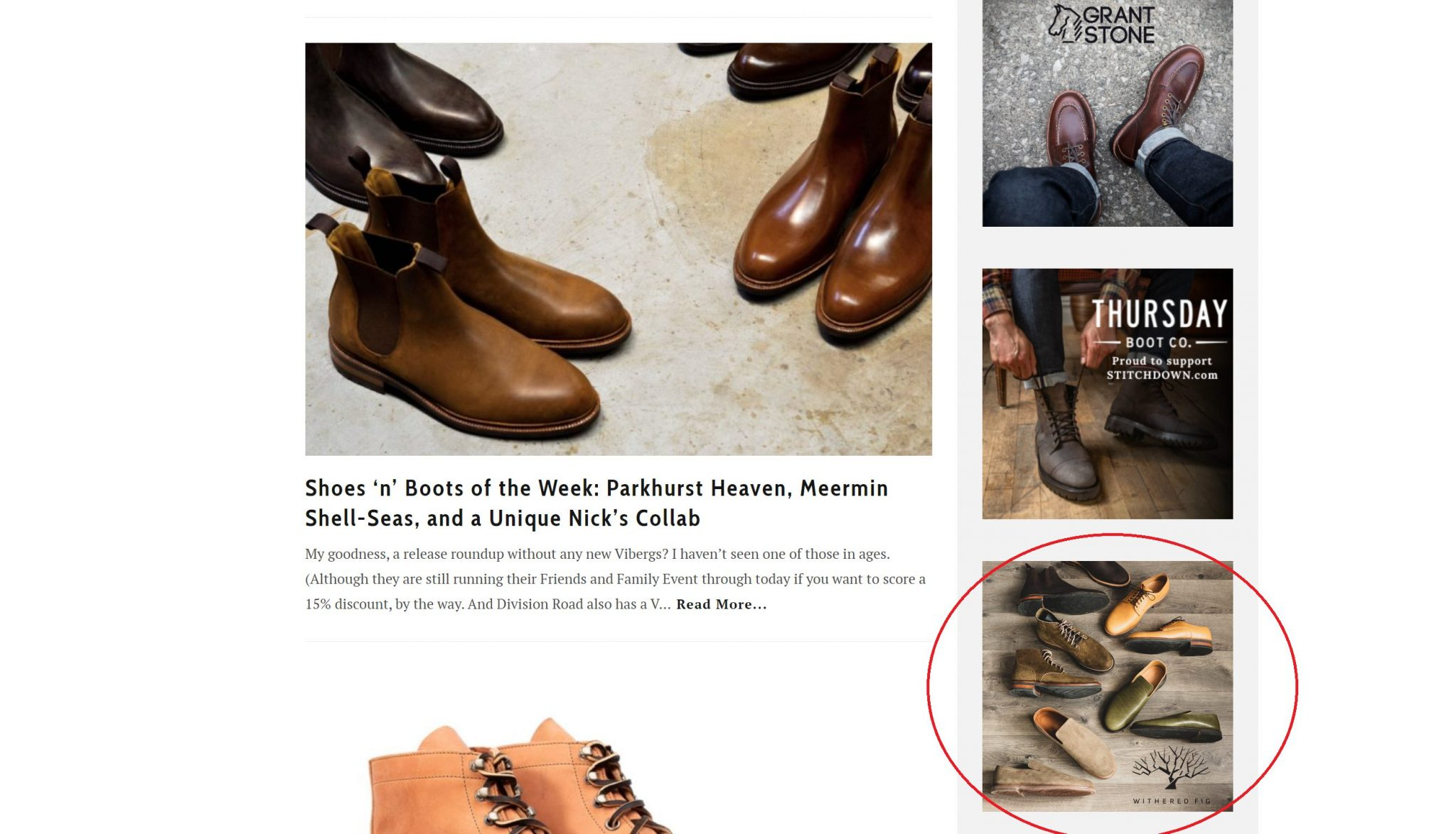 Stitchdown.com Withered Fig boots ad