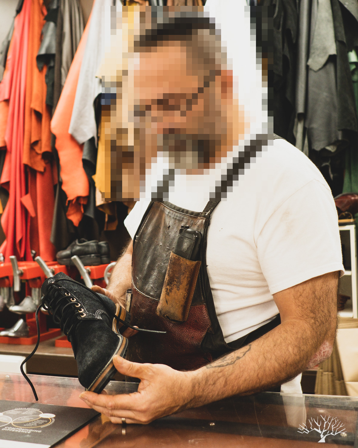 An anonymous cobbler in Northern Virginia using his expert cobbling skills to remake the Midnight Gasfire Boondockers into Noontime Waterdowns