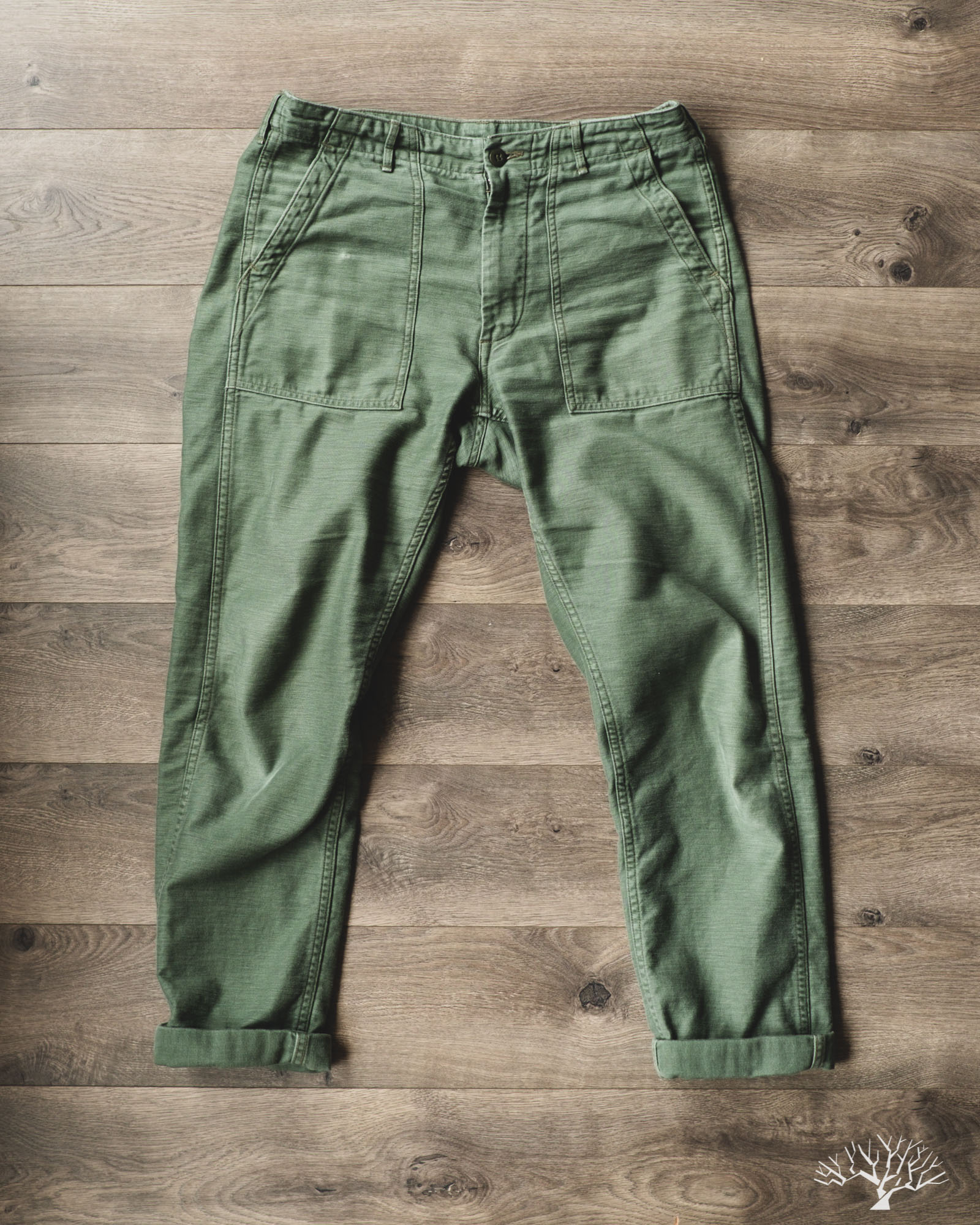 orslow original reverse sateen slim fit fatigue pants