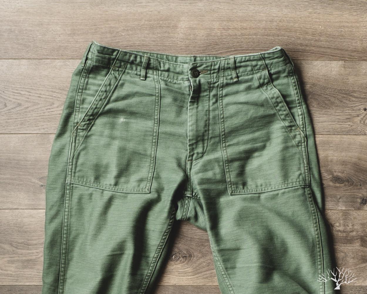 orSlow Slim Fit Fatigue Pants Olive Reverse Sateen