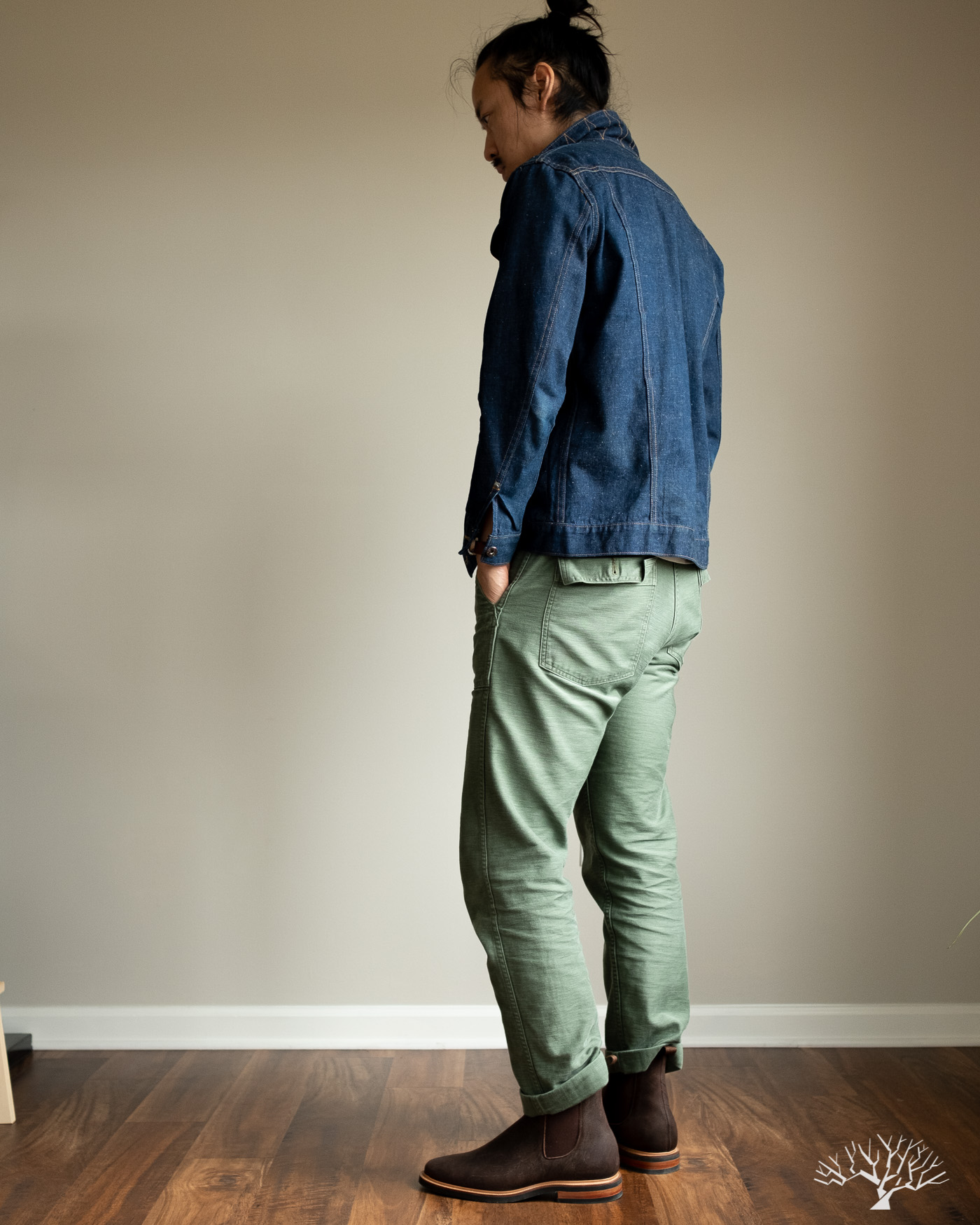 orslow slim fit fatigue pants with 3sixteen ranch jacket model fit