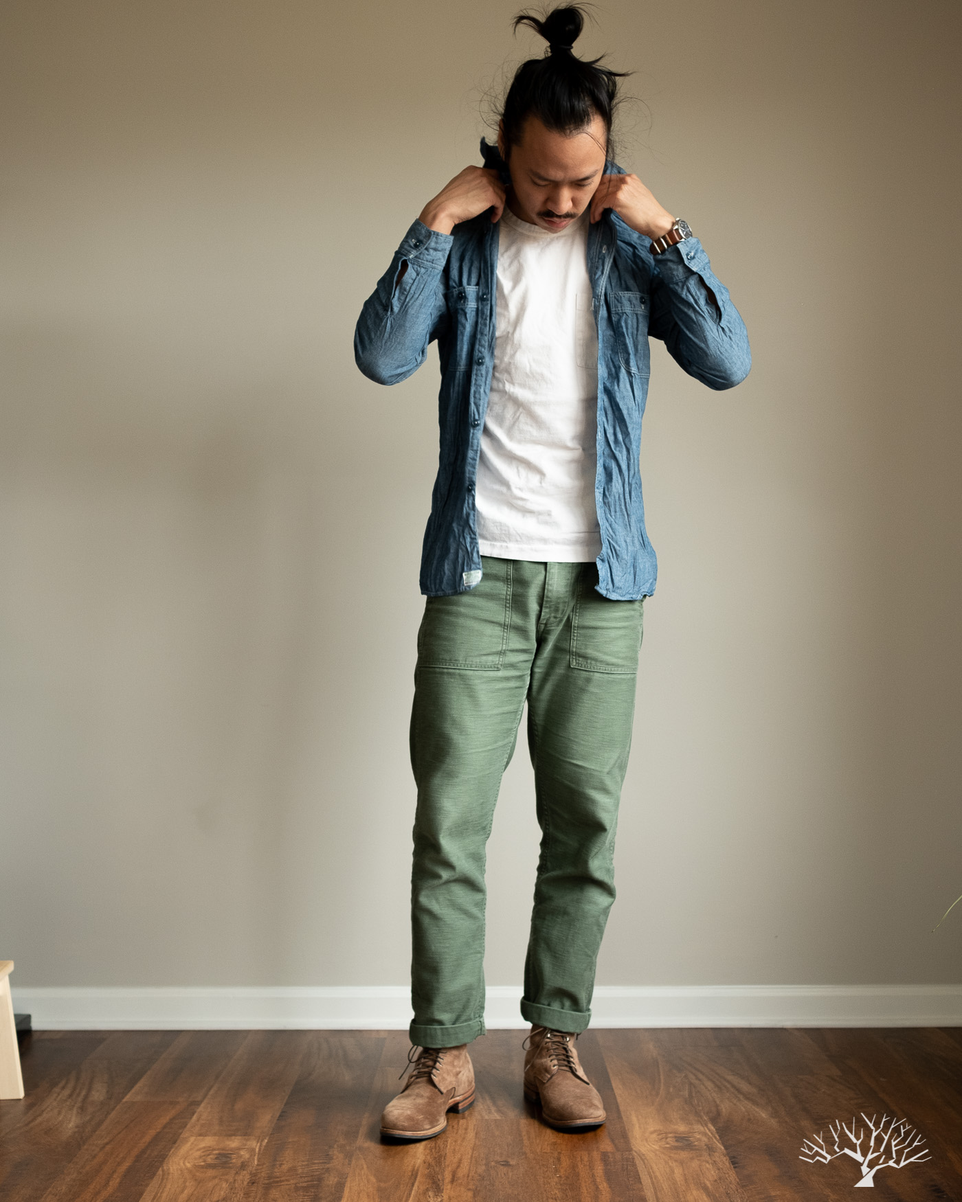 orslow fatigue pants with orslow blue chambray work shirt
