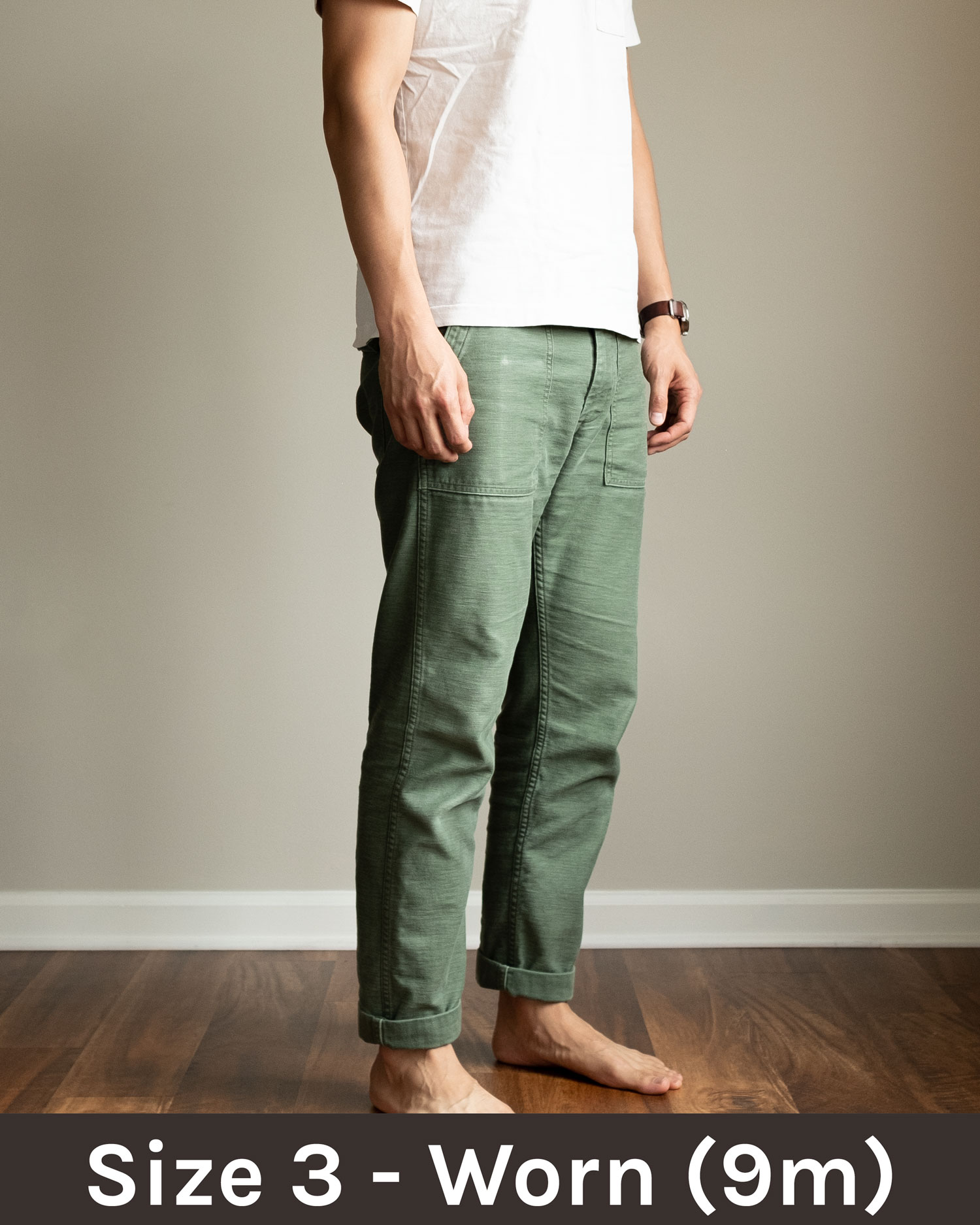 orslow slim fit fatigue pants with plain tee